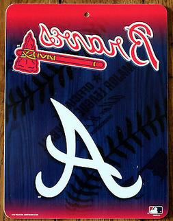 Licensed MLB Plastic Sign Atlanta Braves Wall Decor Baseball