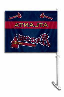 MLB Atlanta Braves Car Flag W/Wall Brackett