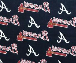 "MLB ATLANTA BRAVES COTTON FABRIC 1/4yd  9""x58"" DIY Face Mask"