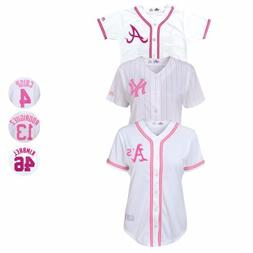 MLB Majestic Glitter Fashion Jersey Collection Girl's Size