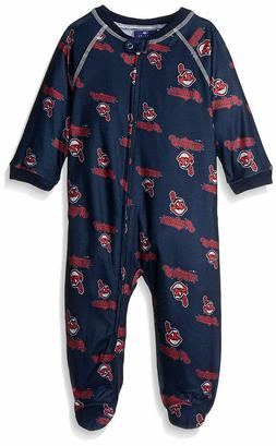 MLB Newborn Indians Sleepwear All Over Print Zip Up Coverall
