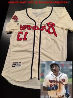 NEW 2019 Ronald Acuna Jr Atlanta Braves Men's Navy / Red Roa