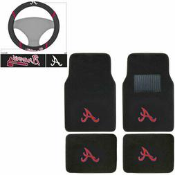New 5pc MLB Atlanta Braves Car Truck Floor Mats & Steering W