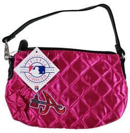 NEW ATLANTA BRAVES Pink Quilted WRISTLET Handbag PURSE MLB B