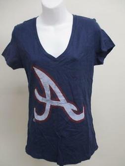 New Atlanta Braves Womens Sizes L-XL Majestic Blue V-Neck Sh