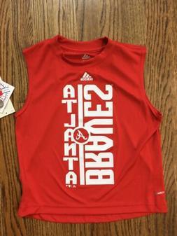NWT New Atlanta Braves Sleeveless Red Shirt Youth Boys Size