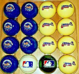 NY METS VS. ATLANTA BRAVES MLB ARAMITH POOL BALL SET BRUNSWI