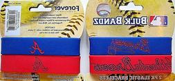 ONE PACK OF 2 ATLANTA BRAVES BLUE AND RED RUBBER WRIST BRACE