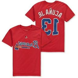 Majestic Ronald Acuna Jr. Atlanta Braves Youth Red Player Na
