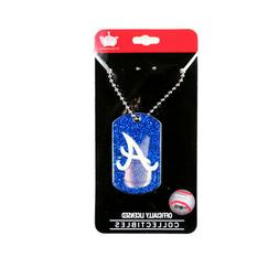 TWO  ATLANTA BRAVES, DOGTAG/NECKTAG GLITTER NECKLACES FROM S