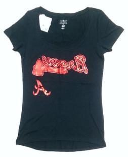 Womens MLB Atlanta Braves Athletic T-Shirts Baseball Navy Bl