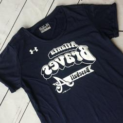 Under Armour Youth Girls Large Shirt MLB Atlanta Braves Navy